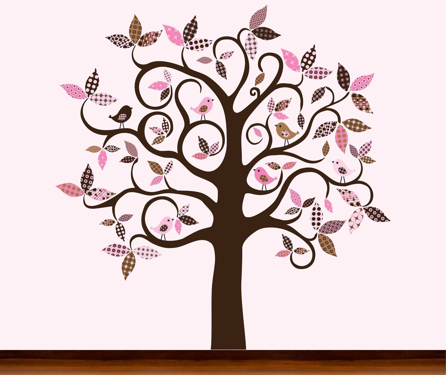 Pink and Brown Design - Chocolate Brown Pattern Tree with Birds - Vinyl Wall Art Decal