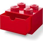 LEGO Desk Drawer 4 Knobs Stackable Storage Box | Red