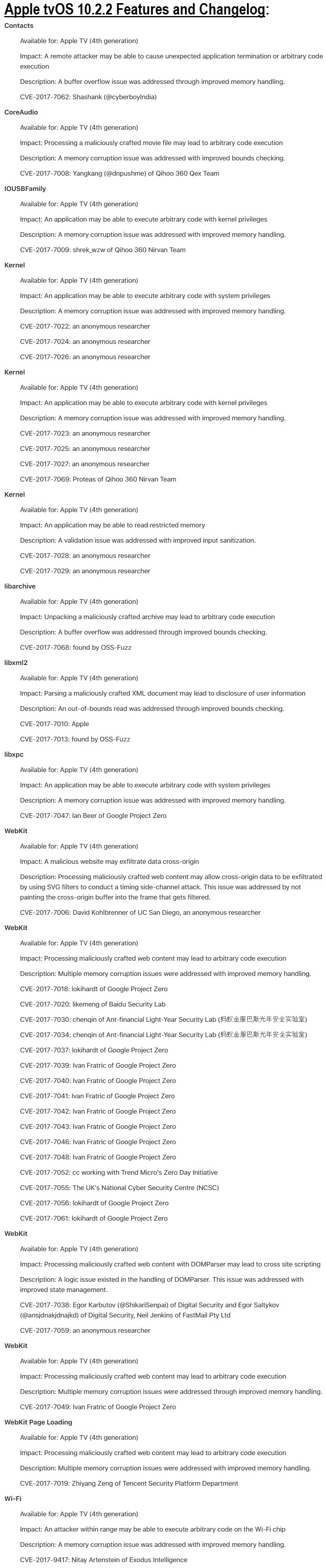 Apple tvOS 10.2.2 Features and Changelog
