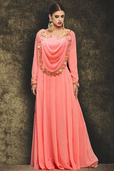 Buy Embroidered Peach Evening Party Wear Gown In Georgette