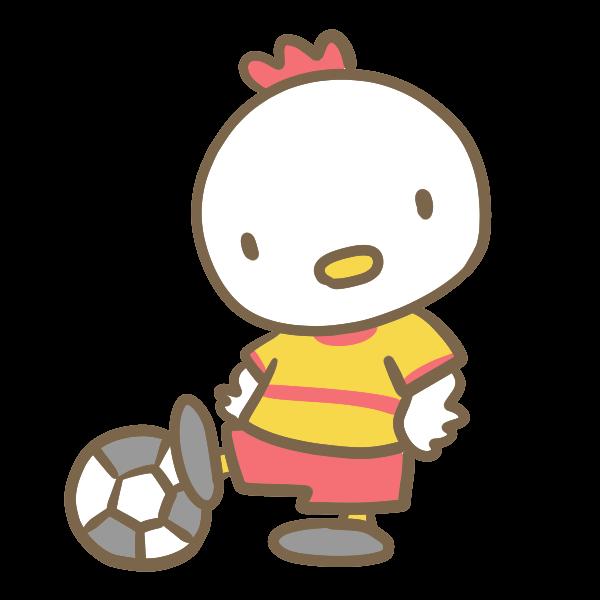 サッカーをする鶏黄色のイラスト かわいいフリー素材が無料の
