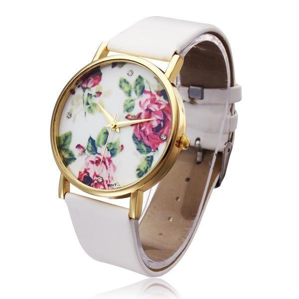 Relógio floral branco.