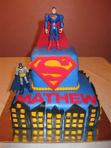 Superman and Batman theme birthday cake   Cakes   Birthday