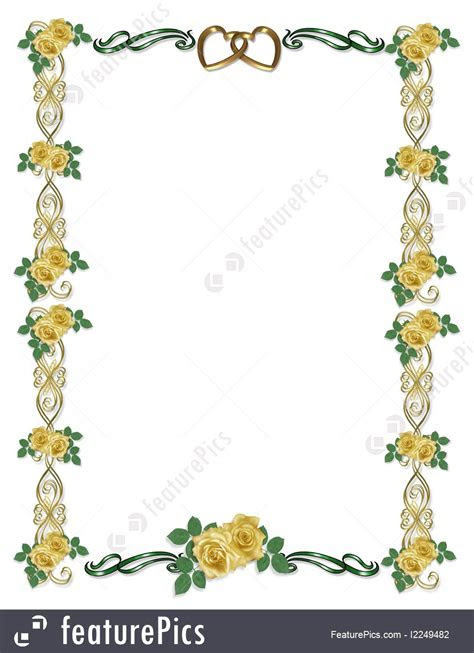 Templates: Yellow Roses Wedding Border   Stock