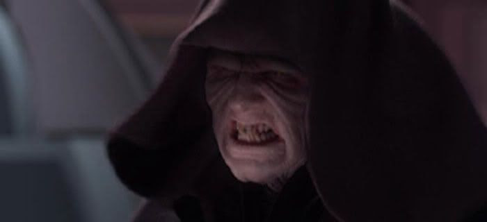 Darth Sidious bares his fangs before he whups a certain Jedi master's ass.