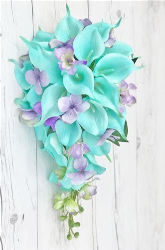 Natural Touch White and Turquoise Callas with Lilac