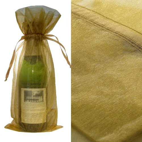 Gold Organza Wine Bottle Favor Gift Bags (Set of 10)