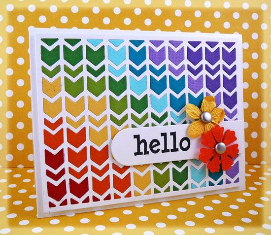 handmade card: Rainbow Chevron by Taylor VanBruggen  ... uses chevron cutting plate with thick and thin chevrons ... luv the bright colors arranged diagonally down the card in rainbow color order... great card!! ... Taylored Expressions ...