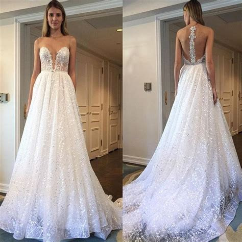 Berta Bridal Ivory Tulle and Sequins Embellished Plunging