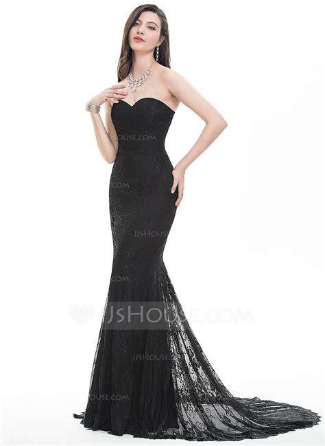 Trumpet/Mermaid Sweetheart Sweep Train Lace Prom Dresses