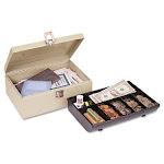 Heavy-Duty Steel Cash Box w/7 Compartments, Latch Lock, Sand 221612003