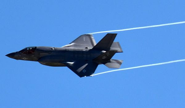 An F-35B Lightning II soars in the air during a demo at the Miramar Air Show...on September 29, 2018.
