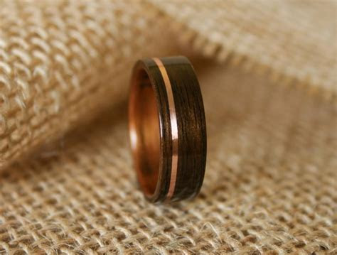 Men's Wooden Wedding Band With 14k Rose Gold Inlay In