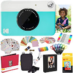 Kodak Printomatic Instant Camera (Blue) Zink Paper (20 Sheets) + Case + Photo Album + 7 Sticker Sets + Markers + Scissors