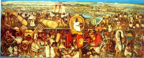 La Gran Tenochtitlan By Diego Rivera Palacio Nacional De Mexico