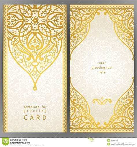 Vintage Ornate Cards In Oriental Style. Stock Vector