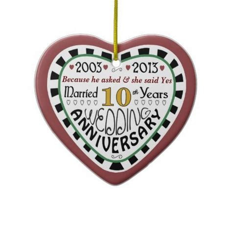 2013 Personalized 10th Wedding Anniversary Ornaments