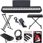Yamaha P125 Digital Piano with Knox Stand, Bench, Pedal and Accessory Bundle