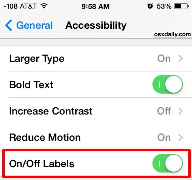 ON OFF settings labels make it easier to read