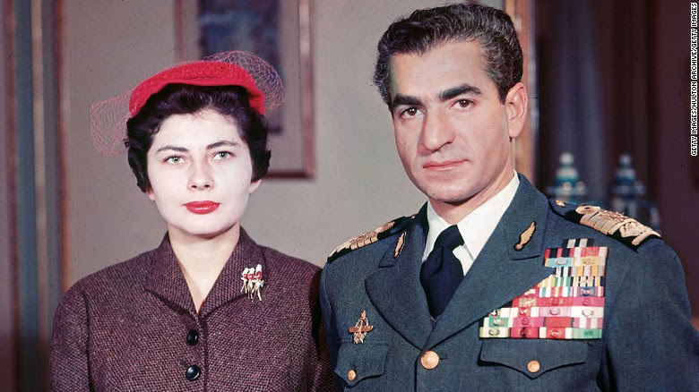 The Shah of Iran Mohammed Reza Pahlavi with Soraya Esfandiary Bakhtiari in 1958.