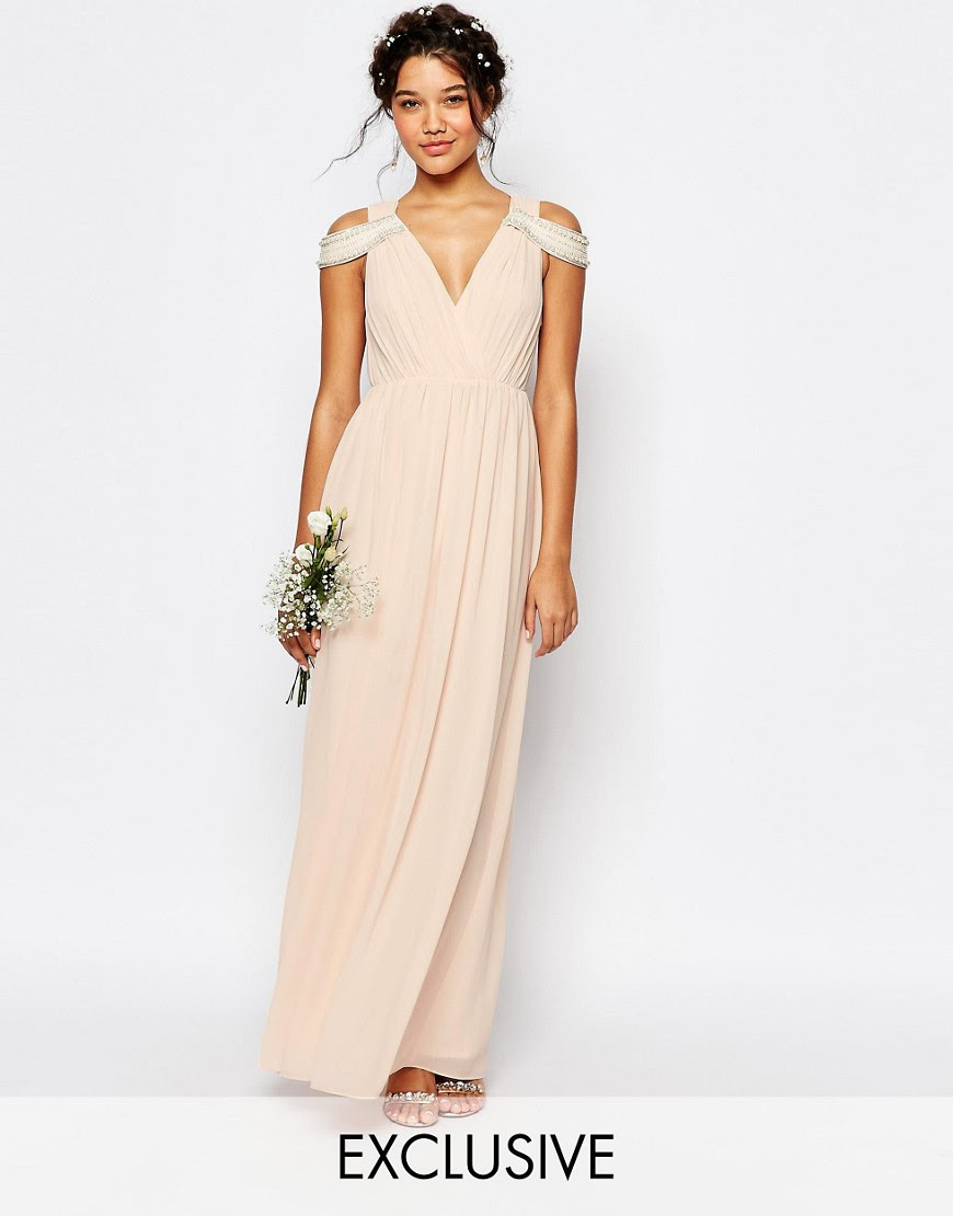Image 1 of TFNC WEDDING Cold Shoulder Wrap Front Maxi Dress