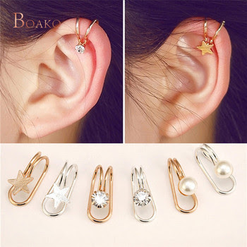 Ling Studs Earrings Hypoallergenic Cartilage Ear Piercing Simple Fashion Earrings Ear Jewelry Ear Bone Clip Without Pierced Simple Snowflake Inlaid Zircon Ear Clip