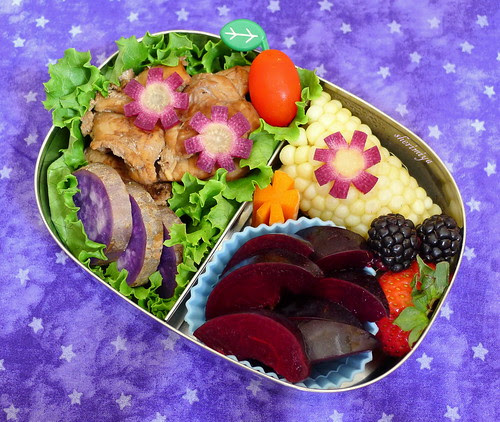 Purple Flowers Bento by sherimiya ♥