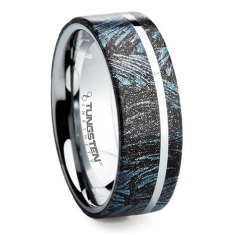 8 mm Unique Mens Wedding Bands in Titanium with M3 Stealth