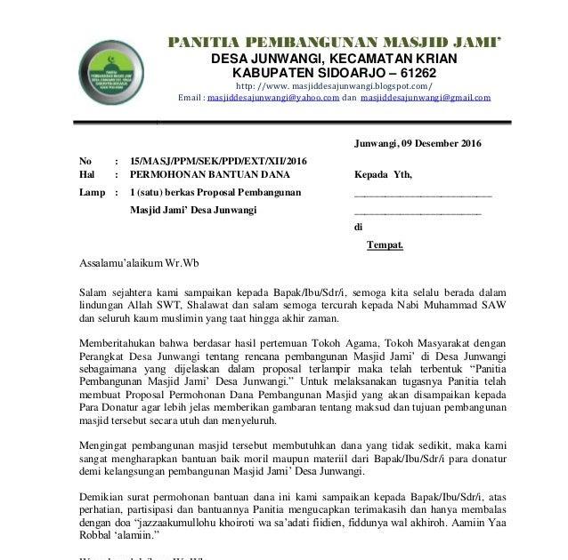 Contoh Surat Permohonan Bantuan Dana Pembangunan Pondok Pesantren Berbagi Contoh Surat