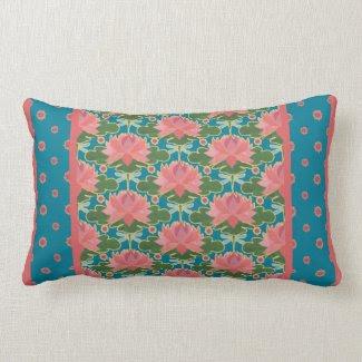 Water Lilies, Dragonflies Lumbar Pillow, Cushion