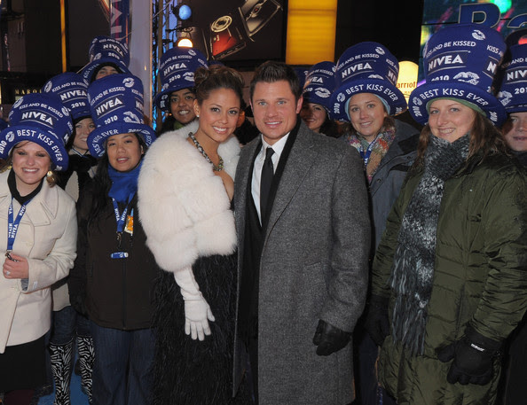 "Vanessa Minnillo and musician Nick Lachey join revelers on the NIVEA Kiss Platform, where they rang in 2010 as a year of ""Love, Hugs and Kisses"" at Times Square on December 31, 2009 in New York City."