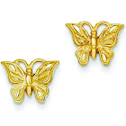14K Yellow Gold Satin Sparkle-Cut Butterfly Earrings - 1.4 Grams
