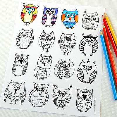 friendly owls free coloring page  allfreekidscrafts
