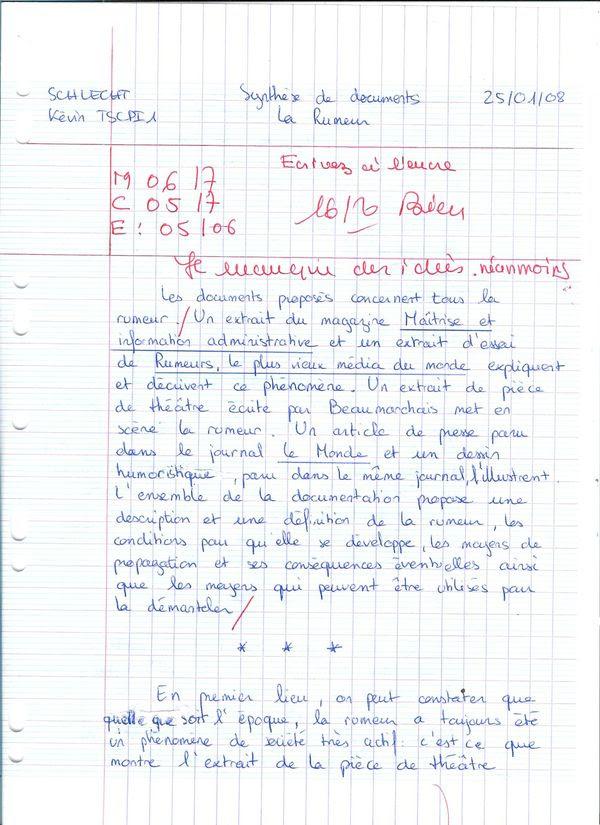 Exemple De Synthèse De Texte Corrigé - Exemple de Groupes
