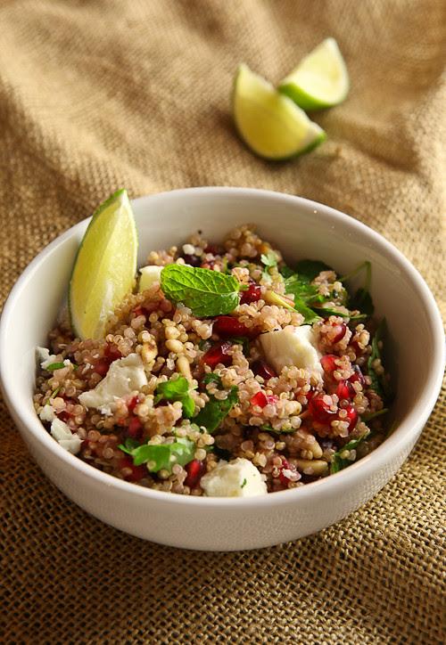 quinoa with feta and pomegranate