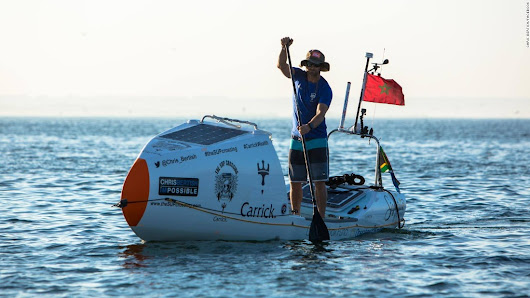 World-first as man crosses Atlantic solo on paddle board