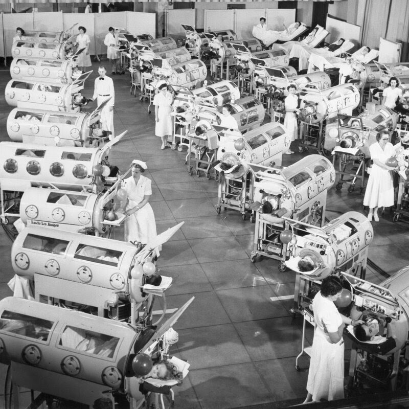 Iron lungs in a polio ward, undated.
