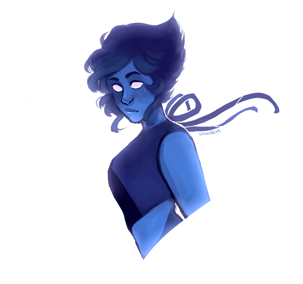 tbh i miss her old colors (the neon hurts my eyes, tbh) not really into su anymore, but i kept seeing @galactibun's drawings of lapis & i wanted to give it a go B)