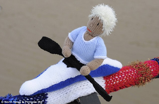 Canoe believe it: One of the woollen figures depicting the Olympic canoeing