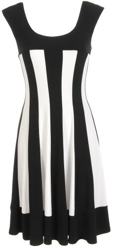 Connected Apparel Petite Stripe Fit Amp Flare Dress Black