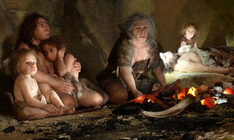 Museum exhibit showing a Neanderthal family