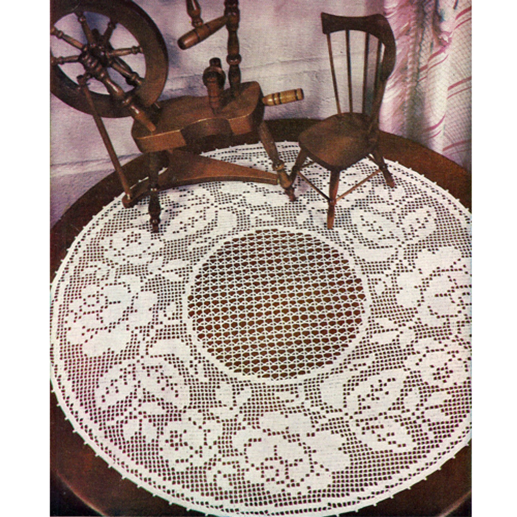 Centerpiece Rose Doily in Filet Crochet