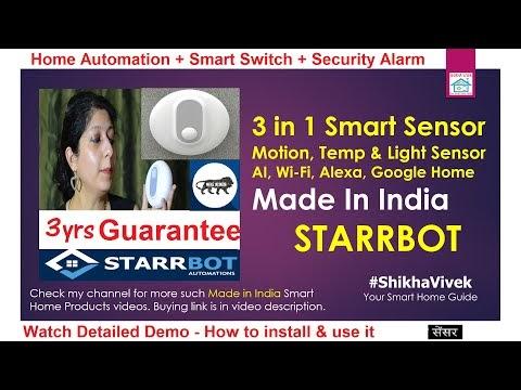 Starrbot 3 in 1 WiFi based smart sensor - PIR motion Sensor, Lux Sensor & Temperature Sensor for DIY Home Automation