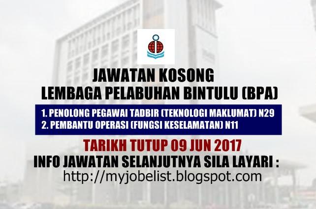 Jawatan Kosong Lembaga Pelabuhan Bintulu (BPA) Jun 2017
