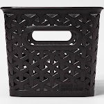"Y-Weave 1/2 Medium Rectangle Storage Bin Black - Room Essentials , Size: Medium 5""x6"""