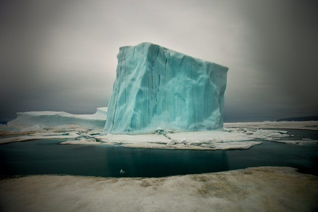 Cube-shaped iceberg in the waters off northern Greenland