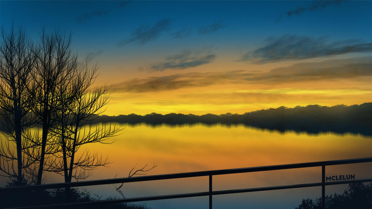 Painting Evening Lake Scene