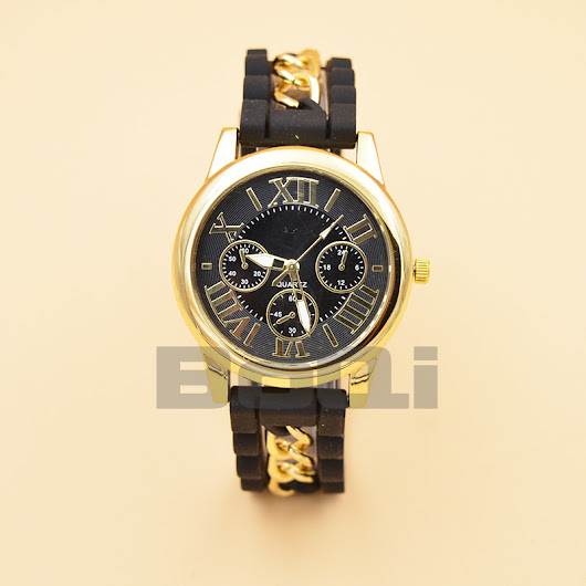 2015 best selling Fashion geneva silicon watch men gold plating chain fake three eye design top quality watch on sale