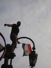 Egyptian protester with a flag