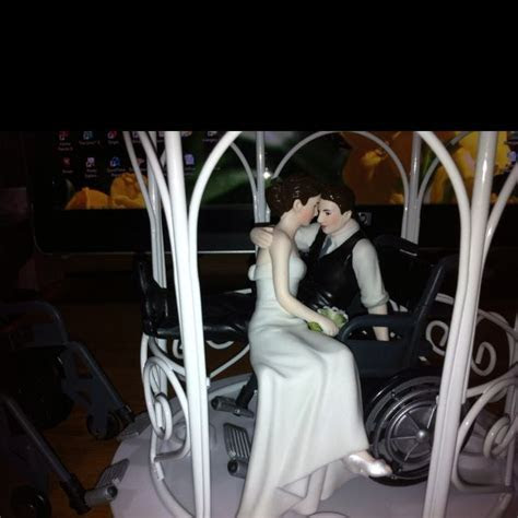 Bride and groom in wheelchair (cake top)   My Parties all